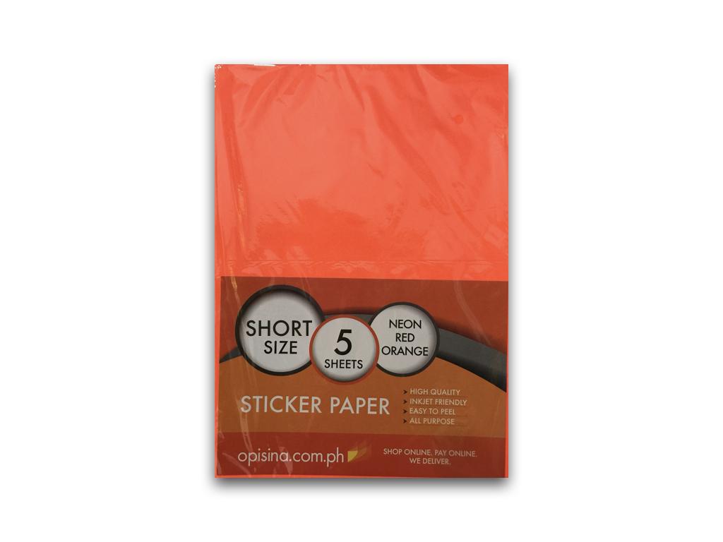 sticker paper neon colour matte short 5 s red orange opisina com ph